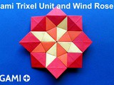 Origami Trixel Unit and Wind Rose Star Mosaic