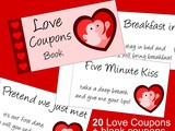 Printable Love Coupons and Naughty Coupons : a Valentine Gift Idea for Him that is guaranteed to please